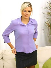 Jennifer the ultimate secretary in miniskirt and pantyhose