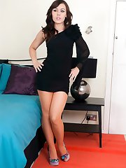 Brunette Kacie in mini dress and orange pantyhose!