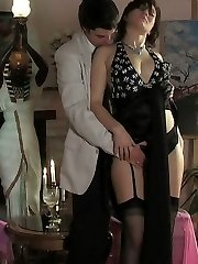 Lascivious nymph in luxury stockings getting her tight pussy impaled deep