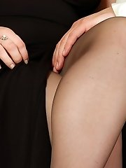 Horny mom in black sheer-to-waist tights getting fucked in every which way