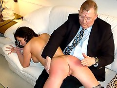 Filthy girl caned on her big ass for wanking with a dildo