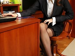 Insatiable babe and her co-worker prepared for strap-on break right in the office