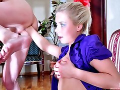 Puzzled girl unplugs her guy�s ass and fist fucks him anally for a mouthful