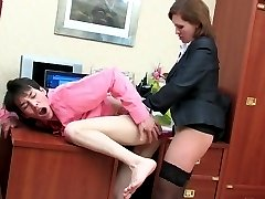 Horny guy ready for strap-on fucking with heated secretary day and night