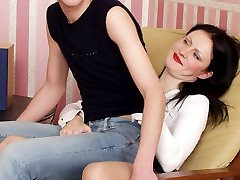 Sizzling hot guy is easily talked into strap-on fuck-n-suck with spicy babe