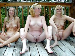 Four horny naked granny lesbians fucking on the sun deck!