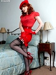 Red is coming over all French dressed in Parisian style with her French ff nylons!