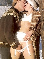 Hot couple fucking in snow