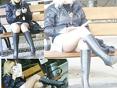 Sultry sitting upskirt photos