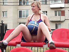 Blonde cheerleader upskirts pussy