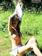 Admiring the bra down blouse view