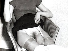 Vintage British 60s hairy minge and sexy nylon stockings!
