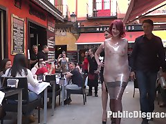 Rija Mae is a pain slut and ready for public disgrace. She gets tied up in rope bondage and takes a brutal corporal punishment in full view of the park! She then is stripped naked and paraded around a very crowded shopping district! Finally back in rope bondage this pain slut is made to service an entire bar! Cleaning shoes, sucking cocks, and getting fucked by anyone who wants her! This whore knows how to serve!