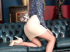 Wearing super sheer silky 8 denier sheer to waist tan pantyhose Anna is horny and excited!