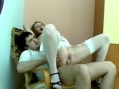 Heated babe getting her white stockings fucked prior to her burning snatch