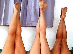 Three way pantyhose orgy