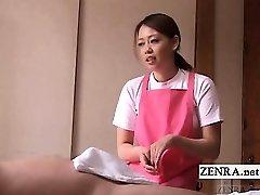 Subtitled CFNM Japanese caregiver senior man handjob