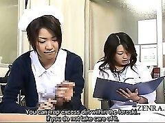 Subtiitritega CFNM Jaapani milf arst ja õde, handjob