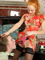 Redhead chick feels like pounding sissy guy�s ass with her rubber strap-on