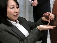 Yuuna Hoshisaki Asian gets cum on office suit after rubbing cock