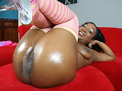 Tiffany has her ghetto booty oiled then licked