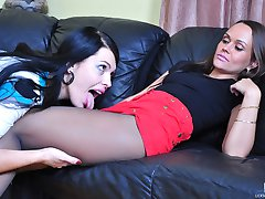 Red hot lesbian babe in her crotchless pantyhose savoring wet muff-diving