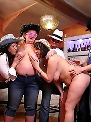 The horny fat chicks at the party are drunk and acting crazy with big dick inside them