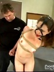 Super Hot starlet Katrina Jade brings her all natural double H tits to HogTied to get tied up, whipped and orgasmed over and over in inescapably tight rope bondage.