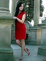 Tricia's red high heels are really high and they will make you stiff with desire until your hot sexy feelings are released under pressure in sexy shoegasm
