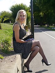 Gorgeous stiletto wearing lady Monica, is outdoors in a lovely dress with sharp pointy high heel shoes