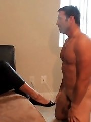 This hot mature brunette enjoys doing things that are much more BDSM than just some light foot worship