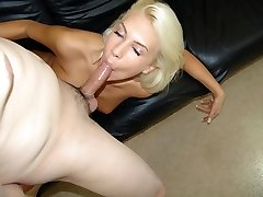 Blonde nymph likes being pound in sofa.