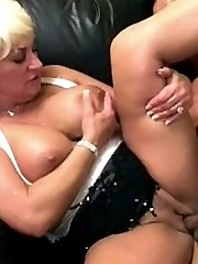 Lusty granny having her hair covered cunt nailed