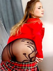 Red-hot coed strips her uniform to play in her gorgeous patterned pantyhose