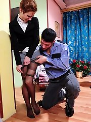 Warmed secretary in dark pantyhose approaching a guy for wild cock-riding