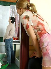 Next-door chick getting her nyloned booty slapped for spying upon a dude