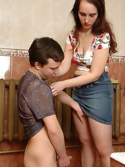 Kinky guy jerking off spying at his sister clad in tan tight in the toilet