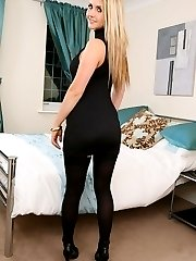 Cute blonde in black minidress and stockings.