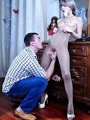 Long-legged beauty gets her open crotch hose creamed after intense boning