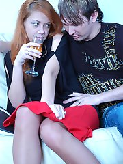 Red-haired beauty going for a pantyhose fuck after a few glasses of vine