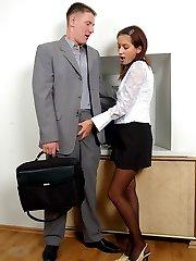 Salacious secretary giving vigorous pantyhosejob before fucking from behind