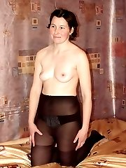 Mature Amateur Chick on Black Stockings Stripping