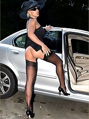 Posh blonde Leggy Lana flashes her tits and pussy as she gets out her car
