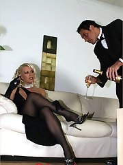 Lady Lana Cox has her hunky butler bathe her sexy little feet with champagne, then uses it to lubricate his cock for a kinky wet foot job and blowjob