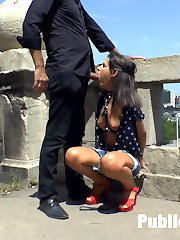 There is something about the Budapest heat that drives tight ass nymphos crazy.  On this extremely hot day Tina Kay takes her disobedient slut on a cock hunt through the streets.  Doing her best to please her dominant, Bella Beretta kneels on the filthy ground and opens her whore mouth for pleasure.  Disappointed in Bellas performance, Tina presents her sluts holes to a cafe full of horny dudes.  This disgusting bitch acts as a human bidet and licks Tinas sweaty ass and cunt clean while being pumped full of strange cock.   Patrons humiliate Bella by taking pictures of her while she is blasted in the face by multiple loads of cum.  Finally, after Bella completely used up Tina is able to relax with a cool and refreshing drink as her whore is left on the floor.