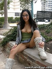 Cute girl with glasses shows pussy and tits