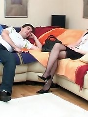 Sultry gal giving a guy wild enjoyment strap-on fucking his tight bunghole
