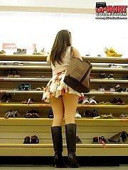 Their sexy thongs peeking up skirts