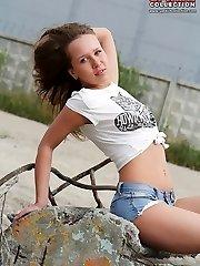 Seducing with denim shorts culo view