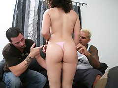 Crazy from the heat, pretty little Bianca hitched a ride with two tall strangers for some brews and fun! This little slut knew what was up when her horse donged escorts dropped trow and deep dicked her tight little ass! Watch Bianca expand her